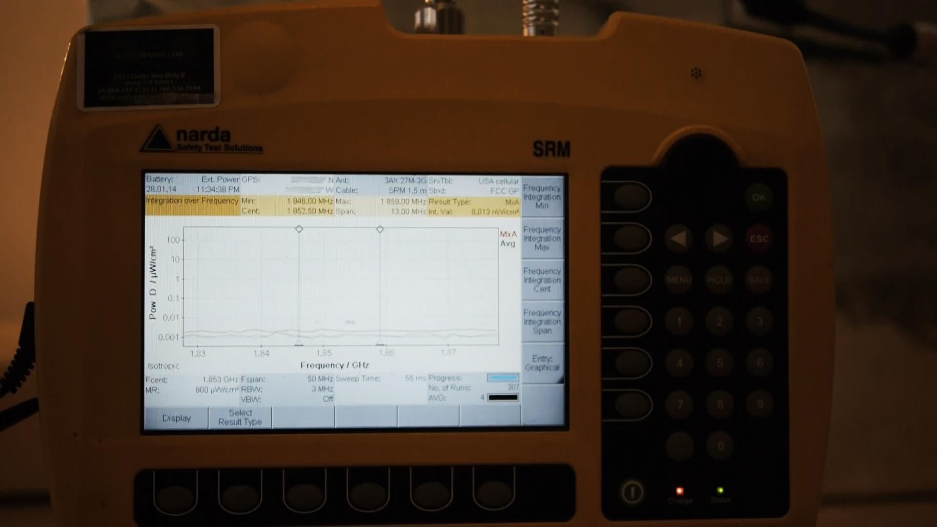 eFLEKTOR test Narda SRM-3006 baseline readings